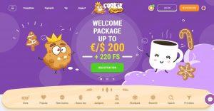 screenshot cookie casino home pagina